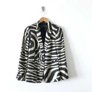 Zara Basic Woman Patterned One Button Jacket